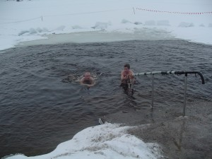 Swimming in a frozen lake