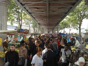 The Marche de Barbes under the Metro bridge